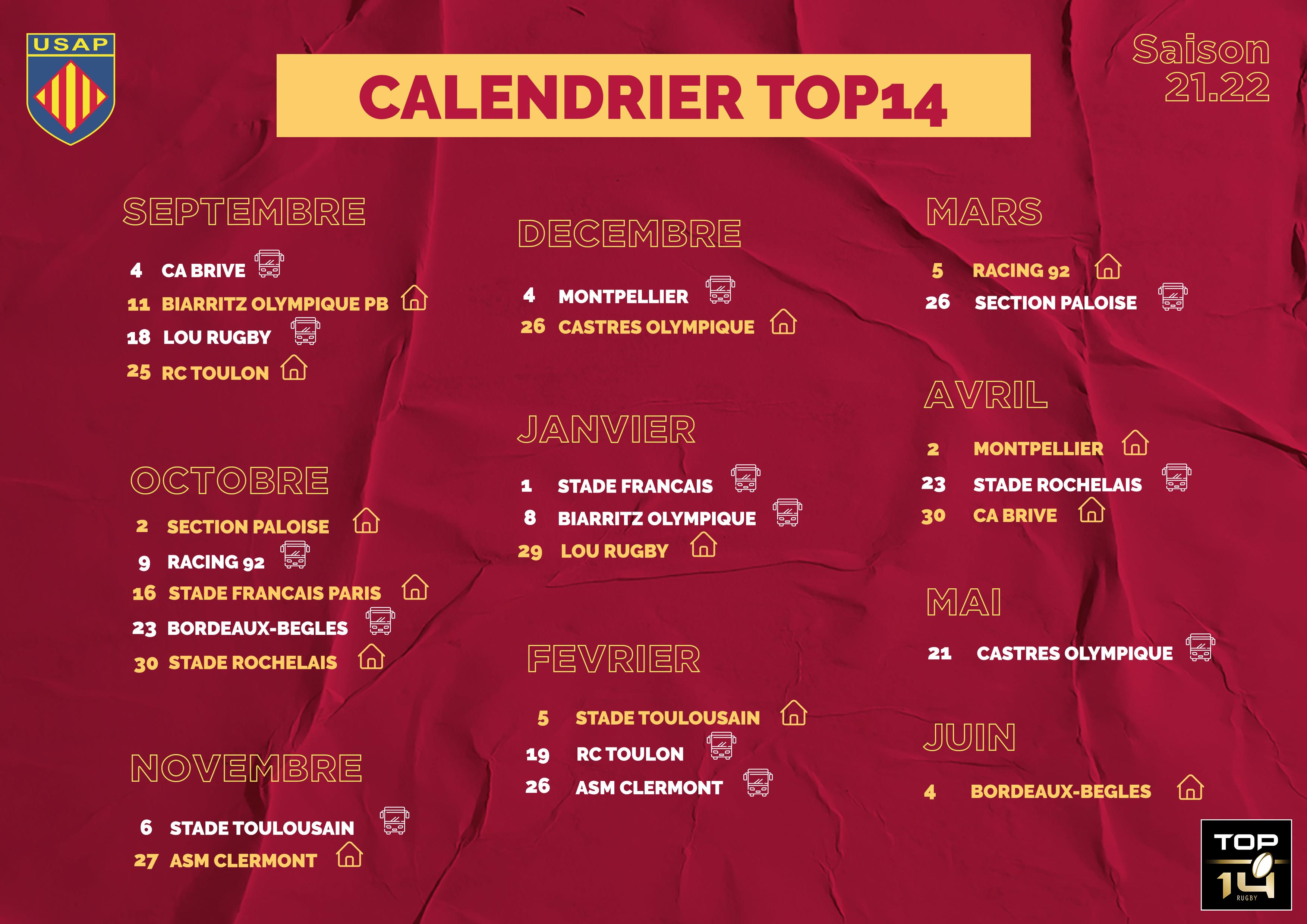 Calendrier Mcdo Avril 2022 USAP Boutique | CALENDRIER TOP14   2021/2022