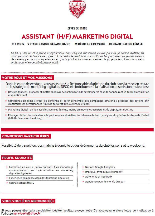Dfco Offre De Stage Assistant H F Marketing Digital